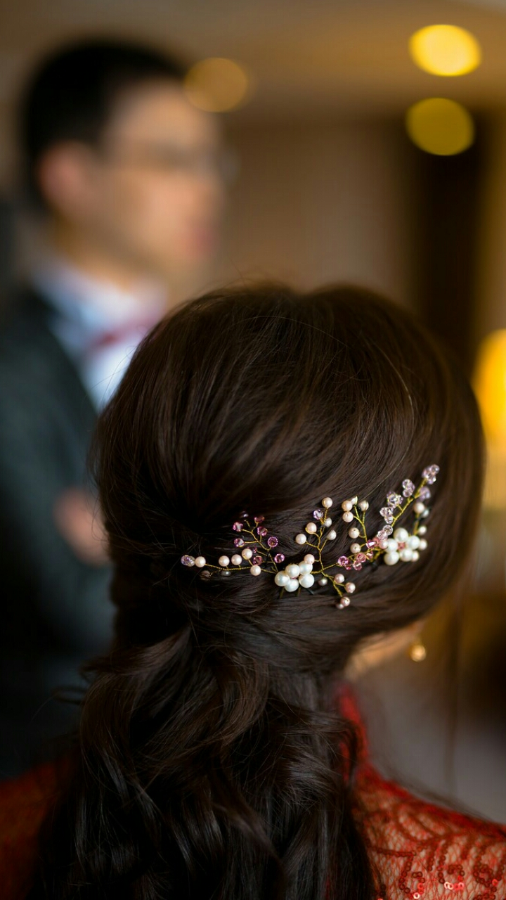 a set of hair pins for bride in pink image